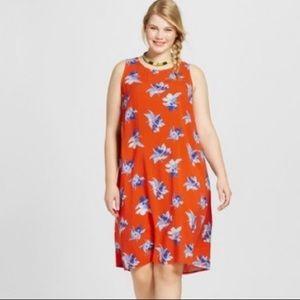 Ava & Viv Orange Floral Swing Dress Sleeveless NWT